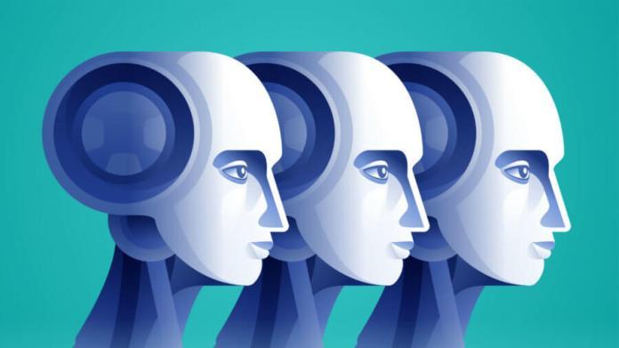 artificial-intelligence-robot-vs-human-vecto