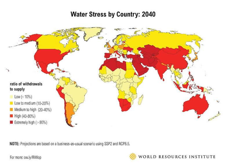 Water-Stress-by-country-2040-map-World-Resources-Institute