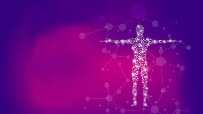Abstract human body with molecules DNA biotechnology
