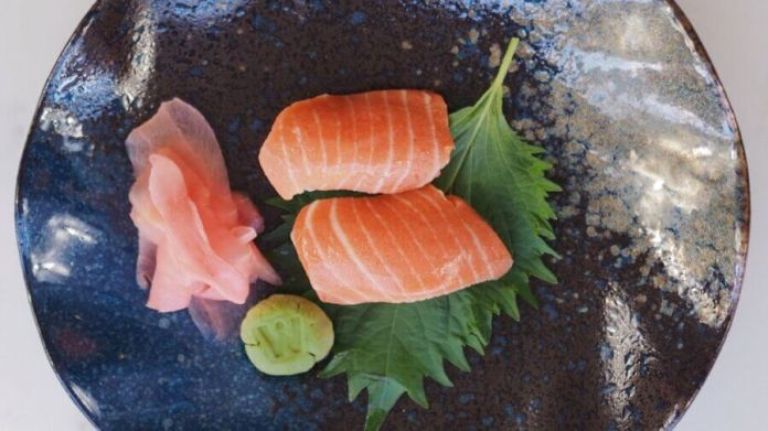wildtype lab-grown cultured salmon sushi