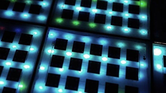 virtual electric grid blue lights