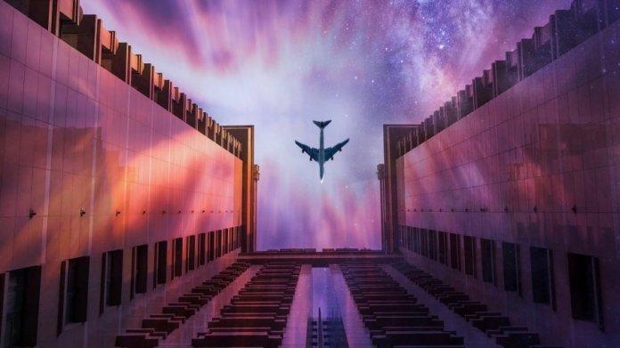 tech stories building purple sky airplane