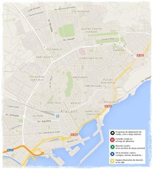 Pulsa sobre el mapa para conocer la ubicación de los servicios para personas sin hogar de la ciudad de Alicante