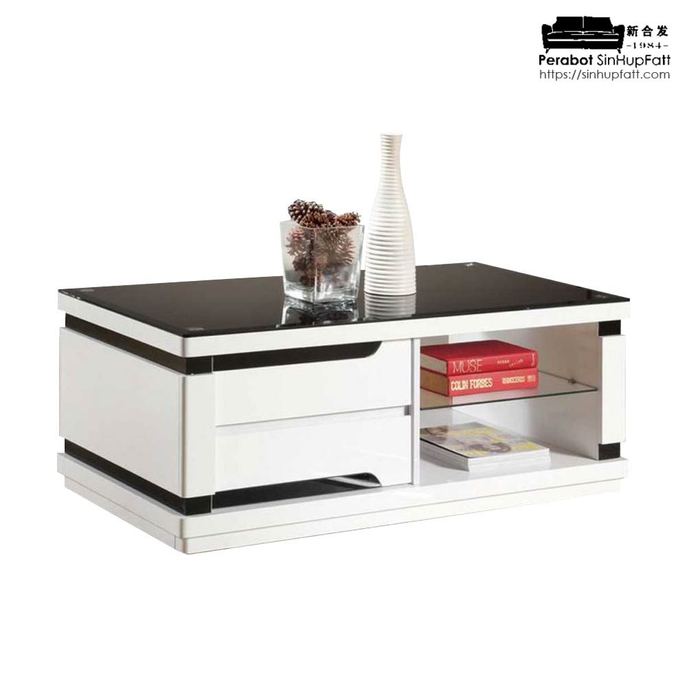 high gloss with glass top coffee table with drawers and open shelf storage