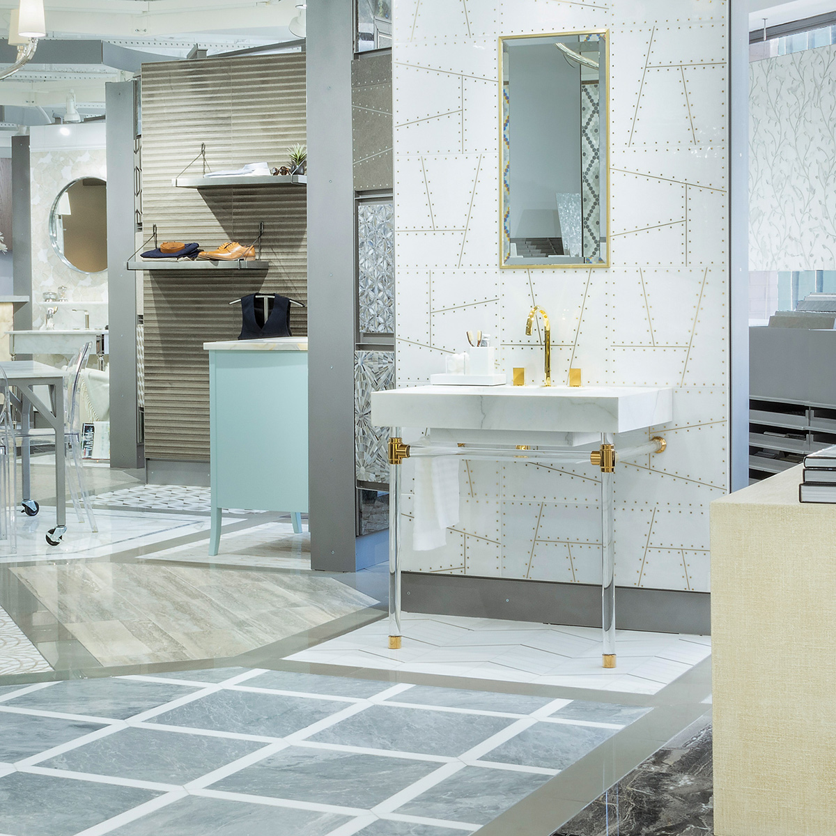 https sinklegs com custom gallery the artistic tile showroom in the ad building in nyc featuring a studio style washstand with clear acrylic legs and horizontals
