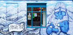 Yeah, Tea mural on the side of the Blind Tiger Pub, Brighton. Winter themed.