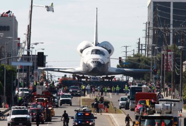 Space shuttle Endeavour on the streets of LA | image via NYT