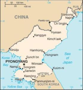 North Korea map showing basic geography - and destiny.