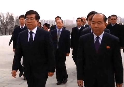 Ambassador Liu Hongcai, on the high wire up Mansudae Hill | Chosun Central TV screen capture