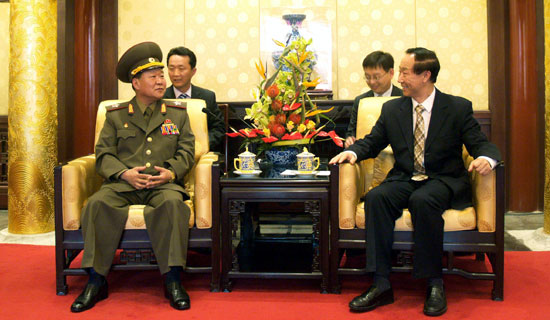 Choe Ryong-hae swoops in from the land of Facebook and Instagram uploads to meet Wang Jiarui, head of China's International Liaison Department | image Rodong Sinmun, May 23, 2013