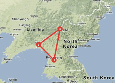 The distance from Pyongyang to Man'po is clear enough, but when will Pak complete the triangle and visit Special Economic Zones in Sinuiju? Image via Tripline.