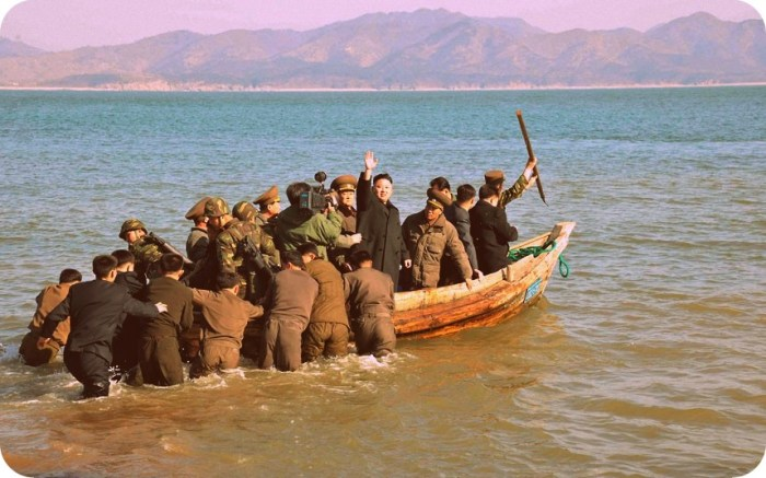So is this how you form a domain consensus? Kim goes sailing | Image: KCNA
