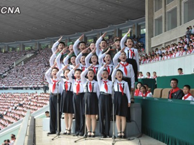 Members of the Korean Children's Union at the 2012 rally in Pyongyang | Source: KCNA