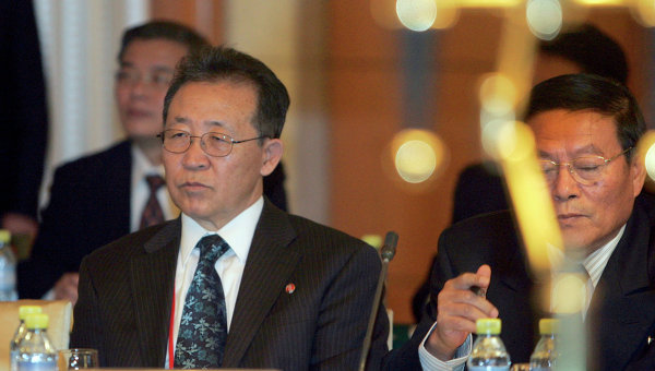 The orchestrator: North Korea's top nuclear negotiator, Kim Kye-gwan (left), in Beijing, 2008; image via Ria Novosti