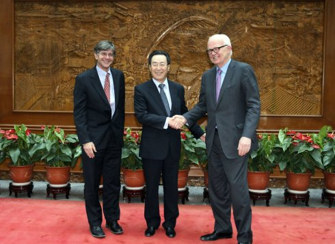 Wu Dawei, center, with James Steinberg (left) and  Stephan Bosworth (right), at PRC Foreign Ministry in Beijing, June 2009; image via Zimbio/Getty.