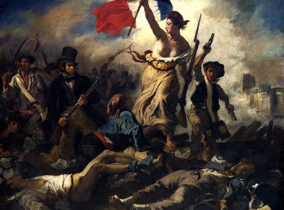 """Eugène Delacroix's famous """"La Liberté Guidant le Peuple,"""" a artistic manifestation of the age of nationalism, depicted where many claim it began: France. 