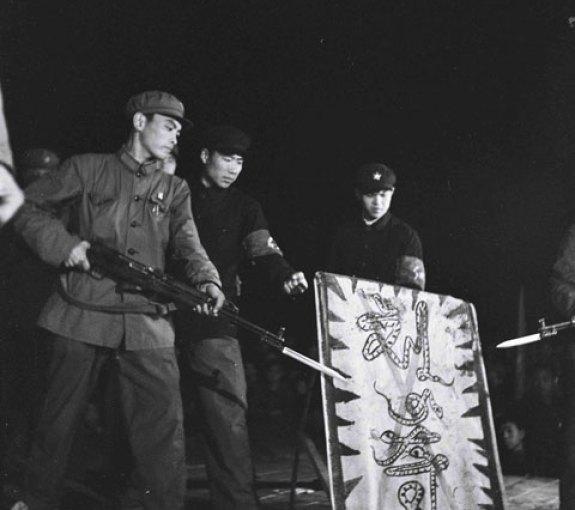 "Red Guards in Yanbian Menace the Purged and Snake-like ""Liu Shaoqi,"" circa 1967; Image via Ryu Eunkyu."