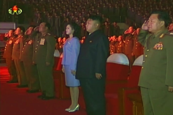 Kim Jong-un not saluting the national anthem at a Moranbong Band concert, August 3, 2013. | Image: Youtube.