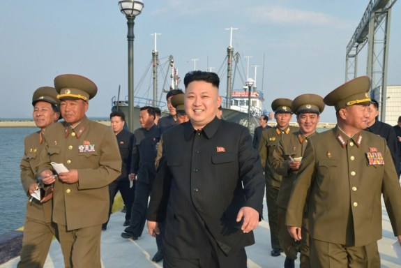 "Kim Jong-un visits the <a href=""http://nkleadershipwatch.wordpress.com/2014/02/23/kim-jong-un-visits-construction-of-8-january-fishery-station/"">""KPA's 8 January Fishing Station"" </a>on January 8. Image: Rodong Sinmun"
