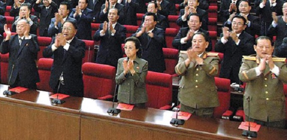The apparently embattled Kim Won-hong is on the far right of this image, taken on September 28, 2010. | Image: KCNA