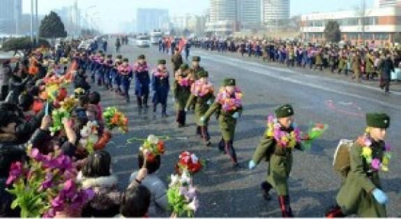 Schoolchildren start the march