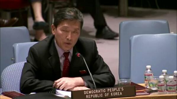 Ri Tong-il representing the DPRK at the United Nations, May 7, 2014.