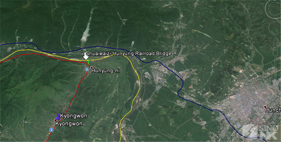 Green is the newly announced bridge connecting both blue and red railroads | Image: Théo Clément/Sino-NK