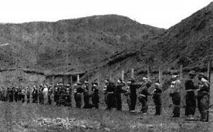 Execution of accused communists northeast of Seoul, April 1950.