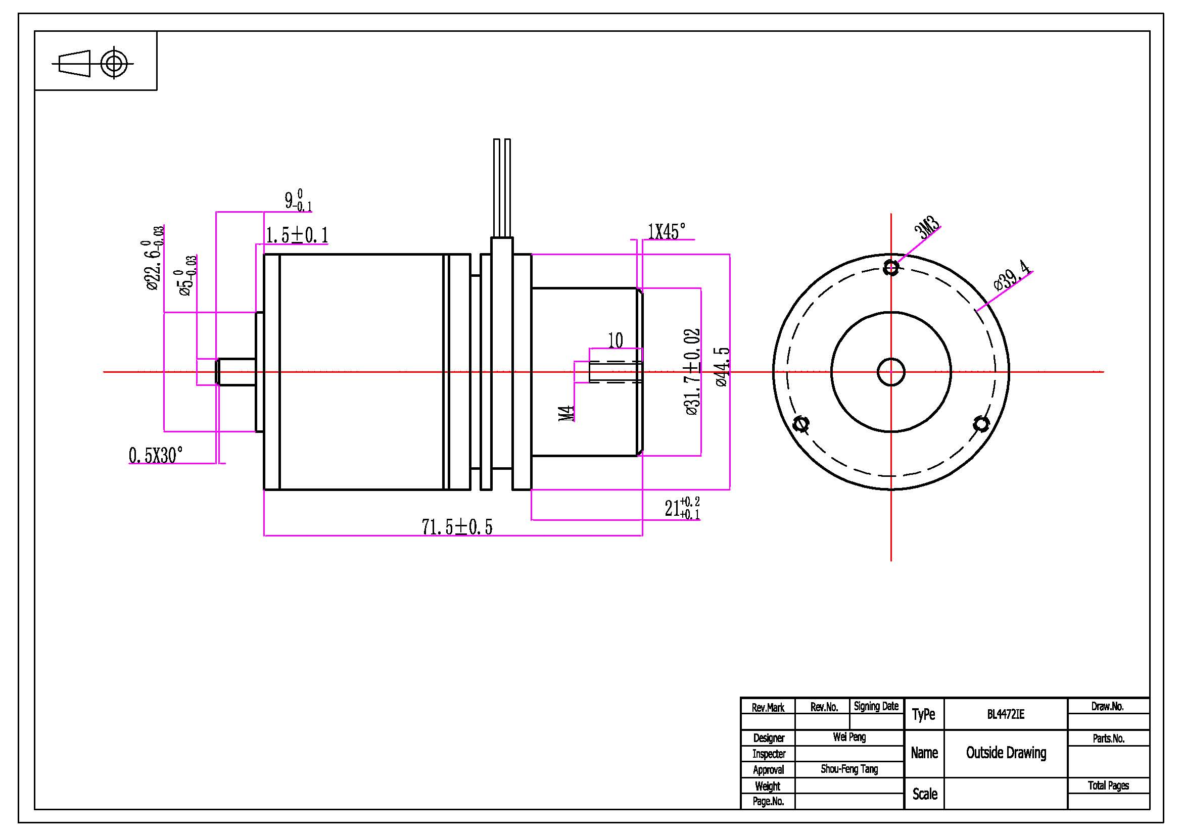 44mm Dia X 72mm Length Bl Ie Embedded Controller