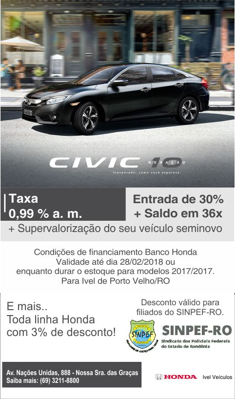 Aproveite nossas condições para Civic1717! Últimas unidades!