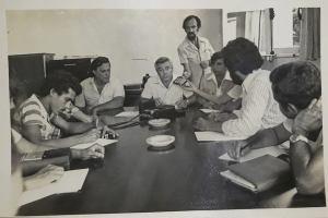 Walderedo, Hélio Maximo e João Lucena numa entrevista coletiva