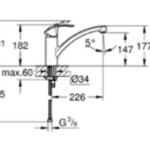 image avec les dimensions du mitigeur évier