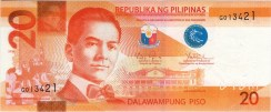 20 Pesos New Generation Currency Banknote Obverse