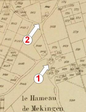 Afb 2: Kadasterkaart van rond 1838 met op positie 1 aan het begin van de huidige J.Ameysstraat de restanten van de oude wijkkapel (nr. 974). Bemerk het kruisvormig grondplan. Positie 2 is de plaats waar de Maria Magdalenakapel zich actueel bevindt.