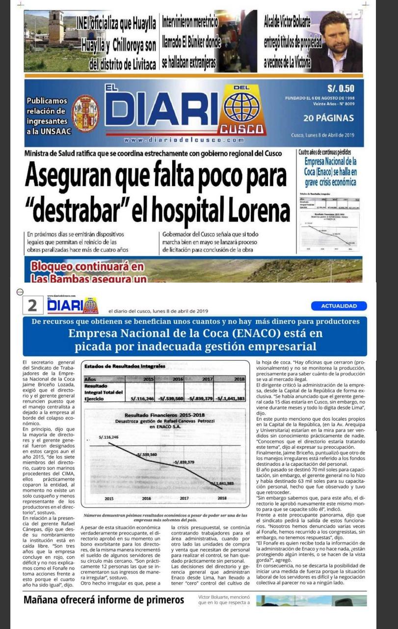 Prensa informa de grave situación financiera en ENACO