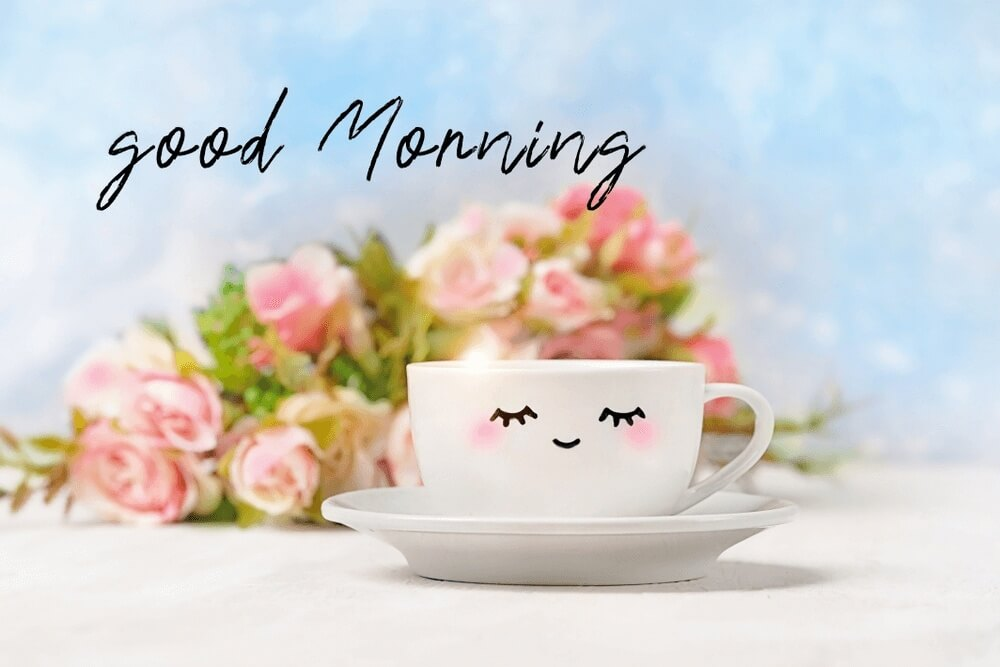 Beautiful good morning photos of white cup with cute smile face