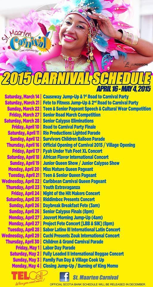 St Maarten Carnival 2015 Schedule