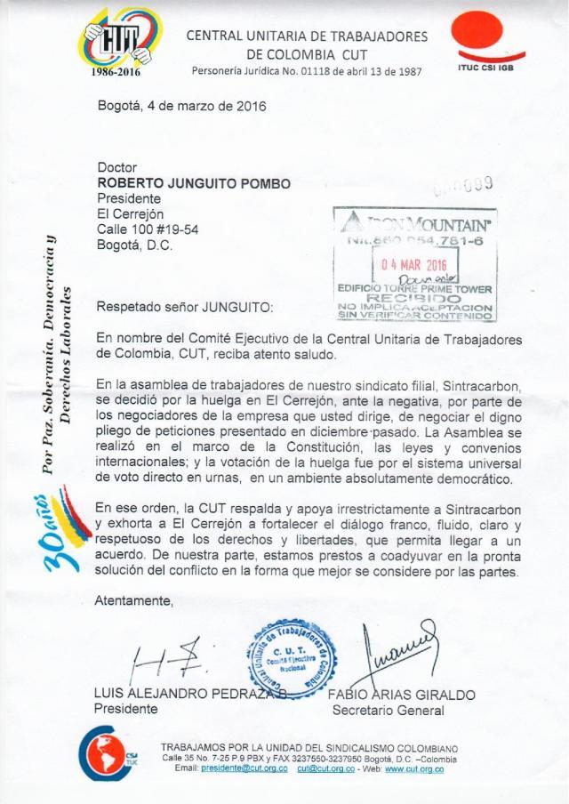 4-03-16 CARTA A PRESIDENTE EL CERREJON