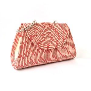 Handmade wicker handbag with handle brown red
