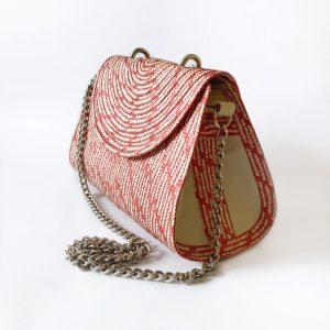 Handmade wicker handbag with handle brown red_Side