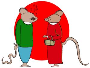 Kaksi rottaa ja sydämiä