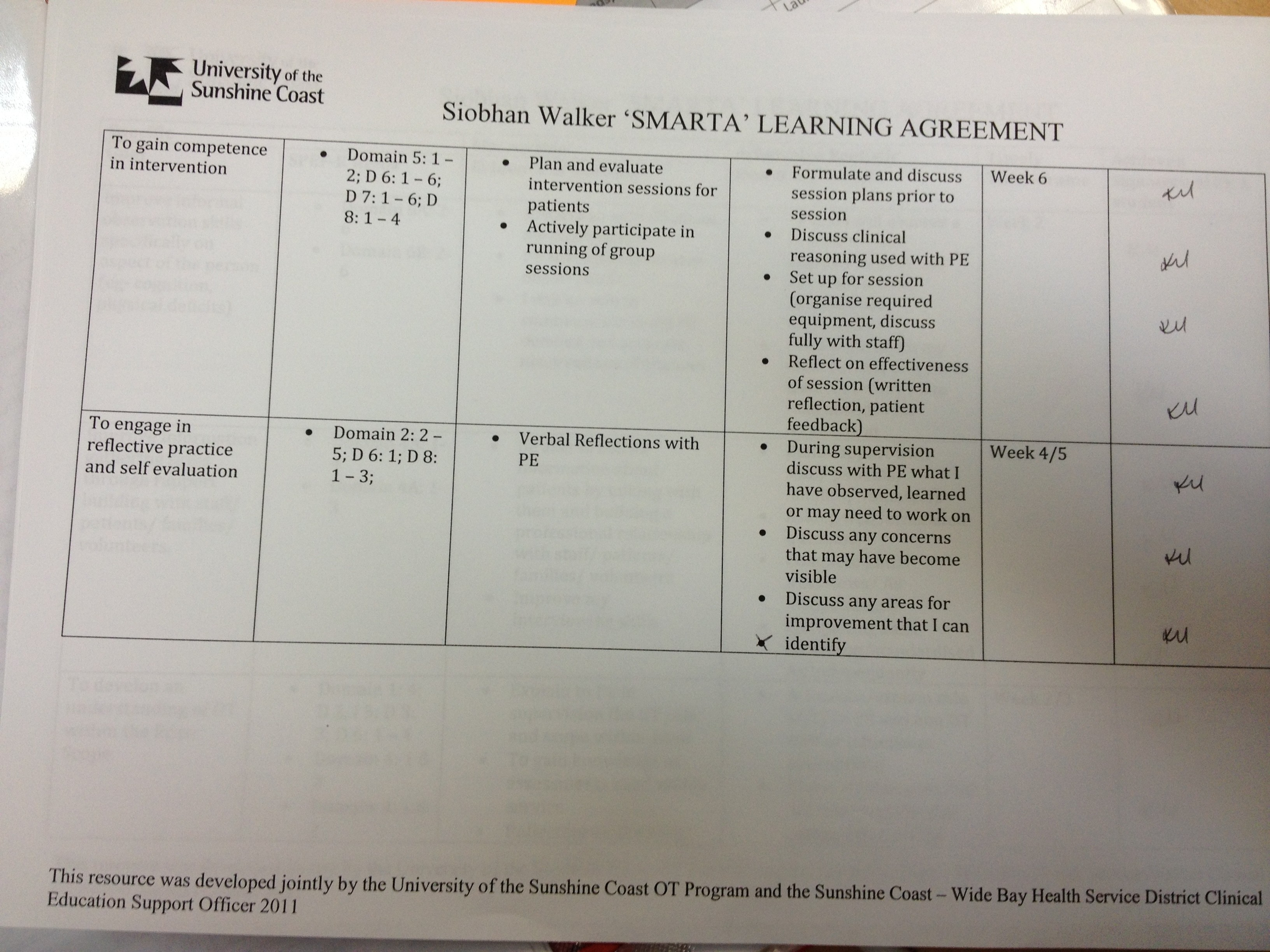Example Smarta Learning Agreement Goals