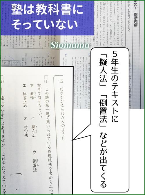 塾のテキストは教科書にそっていないし、学校の勉強を超えた問題が出ていると書いている