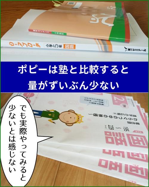 塾とポピーの国語テキストの厚み(ボリューム)を写真で比較