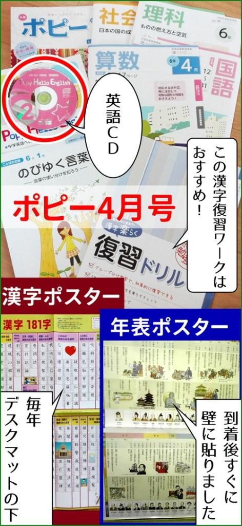 小学ポピー4月号の教材と附属ポスター・CDなどの写真