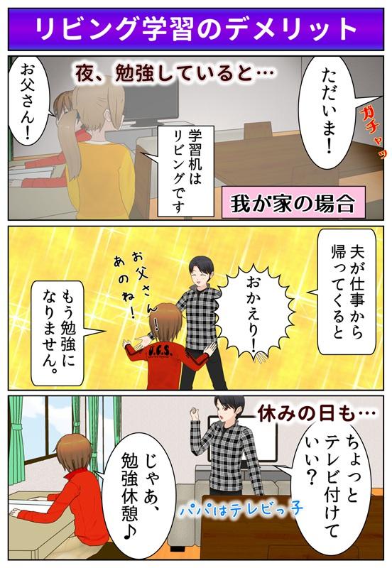 リビング学習のデメリットの一つは、夫が仕事から帰ってくると、勉強がはかどらない点であるという説明漫画