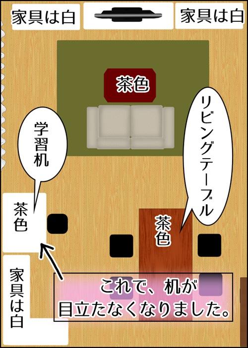 リビング家具の色と勉強机の色を合わせコーディネートしているイラスト