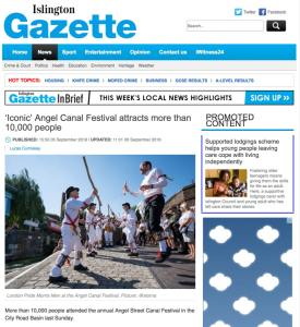 Newspaper article for Angel Canal Festival, 2018. Photograph by Siorna Ashby, a portrait photographer in north London, Finsbury Park for the Islington Gazette
