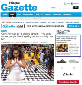 Newspaper article for Cally Festival, 2018. Photograph by Siorna Ashby, a portrait photographer in north London, Finsbury Park for the Islington Gazette