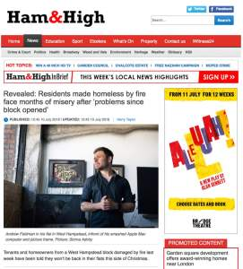 Ham and High news article on a fire in West Hampstead. Photograph by Siorna Ashby, a portrait photographer in north London, Finsbury Park for the Ham and High newspaper.